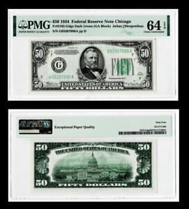 Fr. 2102-G  DGS  DARK GREEN $50 1934 Federal Reserve Notes,CHICAGO,IL PMG 64 EPQ
