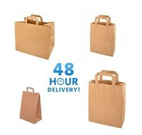 BROWN KRAFT SMALL LARGE PAPER CARRIER BAGS WITH FLAT HANDLES PARTY GIFT