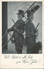 Neujahr, Kaminfeger, Schornsteinfeger mit Leiter, alte Ak um 1930, Arbeit, Beruf