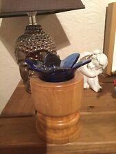 Wild Cherry With Blue Glass Inlay wooden tea light holder