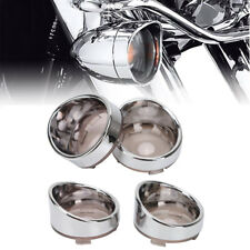 4 PCS Turn Signal Visor-Style Ring Kit Smoked Lens Cover For Harley XL883XL1200