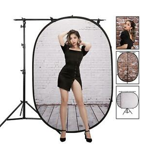 Pop Up Backdrop Collapsible Reversible 1.5x2m Cotton with Light Stand Studio UK