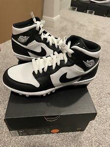 Nike Air Jordan 1 TD Cleats Black White Football Mid AR5604-100 Mens Size 12