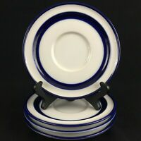 "Set of 4 VTG Saucer Plates 6"" Noritake Fjord Blue and White Stoneware Japan"