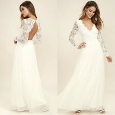 White Lace Chiffon Long Sleeves Wedding Dresses V Neck Backless Bridal Gown