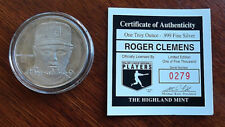 Roger Clemens 1994 Highland Mint One Troy Ounce .999 Silver Coin Boston Red Sox