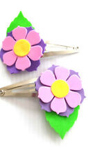 Hair clips - flower clips purple with pink (FFC01)