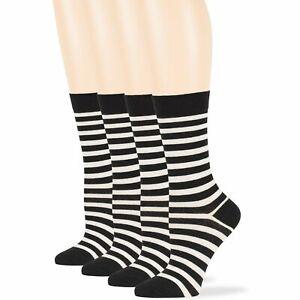 Women's Cotton 4 Pack Striped Dress Lightweight Crew Socks Large 10-12 Black