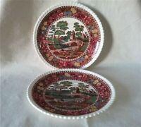 "Antique Copeland Spode's Tower England, 7"" Saucer/Plate, Set of Two"