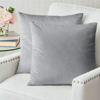 Velvet Pillowcases 18x18 Set of 2, Decorative Case Set Square Throw Pillow Cover