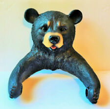 Black Bear Toilet Paper Holder Rustic Cabin Bear Figurine Resin