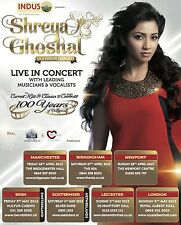 "SHREYA GHOSHAL ""LIVE IN CONCERT"" 2013 U.K. TOUR POSTER - Filmi Music, Bollywood"