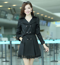 New Women Trench Coat Lace Slim Windbreaker Outwear Double-Breasted Trench Coats