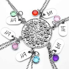 Top Plaza Rhinestone BFF Engraved Pizza Pendant Necklaces 21 Inches - Set of 6
