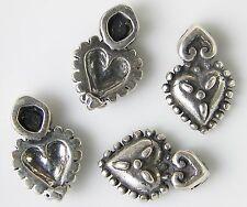 4 STERLING SILVER BALI BEAD HEART PENDANT CHARM 3 g - .1 oz Silver 15 mm