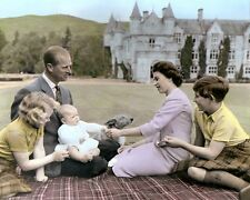 BALMORAL CASTLE SCOTLAND QUEEN ELIZABETH II ENGLAND 8x10 HAND COLOR TINTED PHOTO