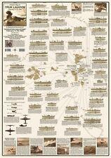 Operation Hailstone Truk Lagoon WWII History Map Chuuk Lagoon Laminated Poster