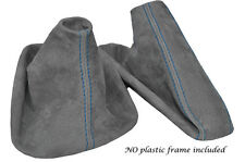 BLUE STITCH MID GREY SUEDE MANUAL GAITER SET FITS BMW 5 SERIES E39 1996-2004