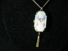 Vintage Sterling Silver and Gold Wash Enameled Flowered Locket/Necklace,  15.54g