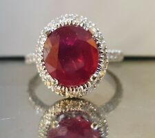 18k white gold natural  ruby ring 5.01ct.