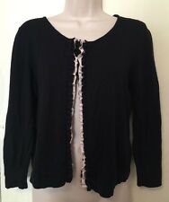 H&M Cardigan Sweater Medium Black Ruffled Front 3/4 Sleeve Adorable Cover Up