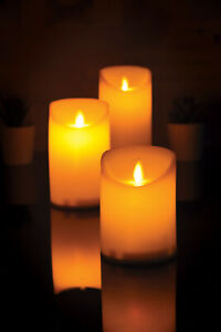 Set of 3 Dancing Flame LED Candles with Remote Control (LYYT)