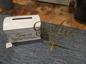 USED White Wedding Gift Card Box Holder and Guestbook sign