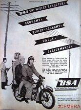 1957 Motor Cycle ADVERT - B.S.A. Range' Vintage Original Print AD
