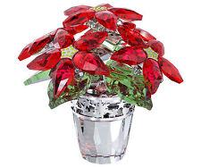 SWAROVSKI POINSETTIA LARGE BRAND NIB #113997 CRYSTAL FLOWERS RED CHRISTMAS F/SH