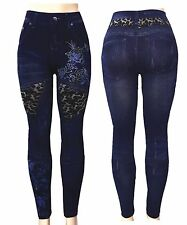 Fashion Jeggings Jeans Rhinestone Printed Leggings Women's Pants Stretchy Skinny
