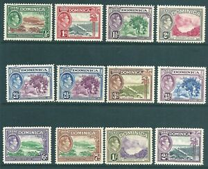 DOMINICA 1938 George VI mint short set to 2/-
