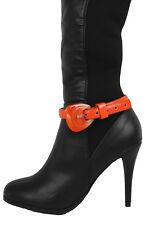 Women Big Belt Buckle Bling Boot Bracelet Shoe Orange Faux Leather Strap Charm