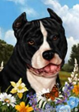 Summer Garden Flag - Black and White American Pit Bull Terrier 184051