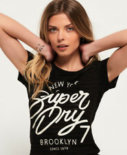 New Womens Superdry Nyc Burnout Stripe T-Shirt Black