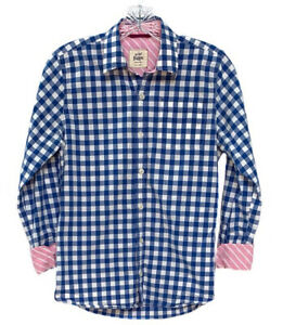 Mini Boden Boy's Blue + White Checked Button Up Shirt Size 11-12Y