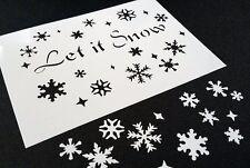 #L SNOWFLAKES Text LET IT SNOW Stencils Windows Showcases Spray with Fake Snow