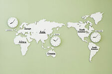 Large World Map Wall Clock Wooden DIY Sticker Puzzle Decor Interior Gift - White
