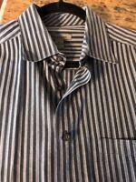 Johnston & Murphy Mens Dress Shirt Size Large Long Sleeve Black Gray Nice!
