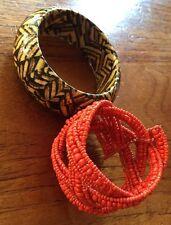 Set Of Two Vintage Bracelets Bangles 90s Wooden Beaded Boho Bohemian