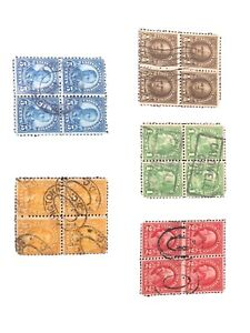 Stamps. -  US Old Blocks Of 4 Used