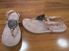 NEW Ugg Ayden Leather Thong Sandals WOMENS 10 Chestnut Brown Black $90.