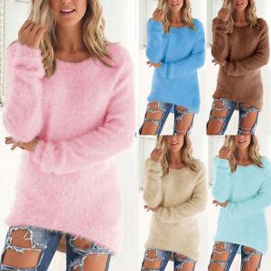 Women Boho Pullover Sweater Shirts Winter Tops Jumper Long Sleeve Warm Solid