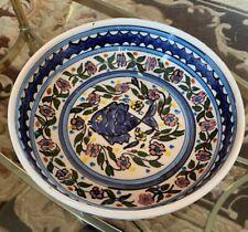 Vintage ISRAEL Jerusalem Armenian Pottery CERAMIC LARGE BOWL Hand Painted FLOWER