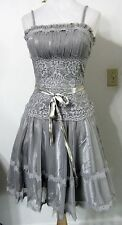 PROM DRESS XS Chicas Silver Lace Tulle Vintage Look Bridesmaid Evening NWT