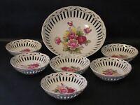 Vintage Japan Open Work Fruit Bowl Berry Bowls Set Porcelain Floral