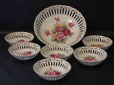 Vintage Japan Open Work Fruit Bowl Berry Bowls Set Porcelain Floral