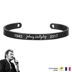 Bracelet Johnny Hallyday Acier Inoxydable Prénom & Date - Noir