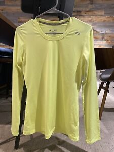 under armour (UA) womens neon yellow long sleeve heat gear (size S)
