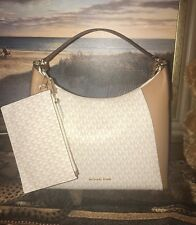 NWT AUTHENTIC MICKAEL KORS Kimberly Vanilla/ACRN Studded Large Shoulder Bag