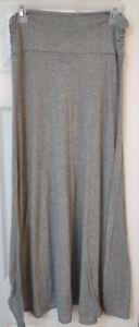 Women's Long Maxi Skirt-Solid Plain Gray-Stretch-Size Petite Medium-CKW